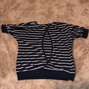 Navy stripes open back top